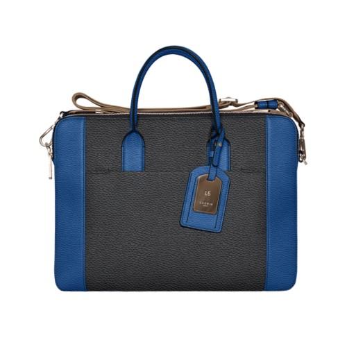 トラベル ブリーフケース - Black-Royal Blue - Granulated Leather