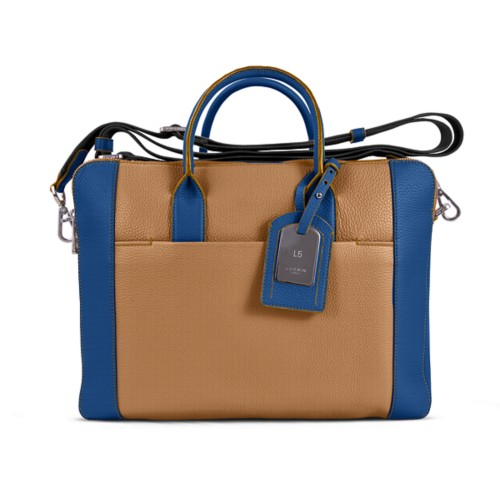 Travel briefcase - Natural-Royal Blue - Granulated Leather