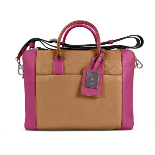 Travel briefcase - Natural-Fuchsia - Granulated Leather