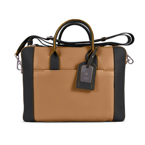 Travel briefcase - Natural-Black - Granulated Leather