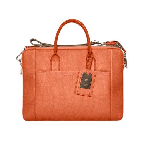 Travel briefcase - Orange - Granulated Leather