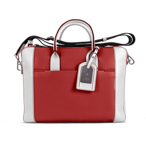 Travel briefcase - Red-White - Granulated Leather
