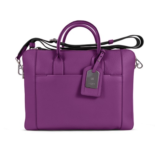 Travel briefcase - Purple - Granulated Leather