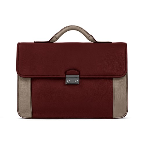 Cartable business - Blanc-Vison - Cuir Grainé