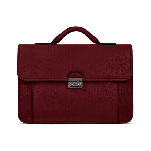 Lawyer briefcase - Burgundy - Granulated Leather