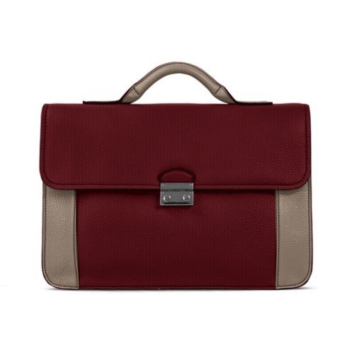 Lawyer briefcase - Burgundy-Mink - Granulated Leather