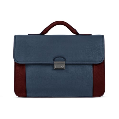 Lawyer briefcase - Navy Blue-White - Granulated Leather