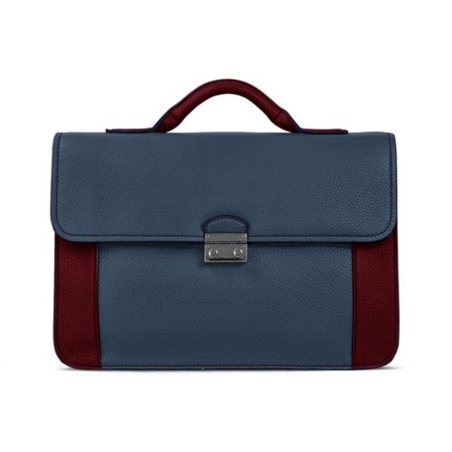 Lawyer briefcase - Navy Blue-Burgundy - Granulated Leather