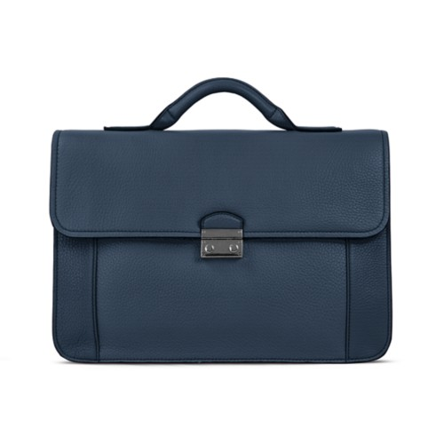 Lawyer briefcase - Navy Blue - Granulated Leather