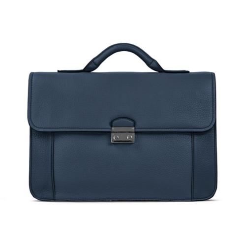 Business aktentasche - Marineblau - Genarbtes Leder