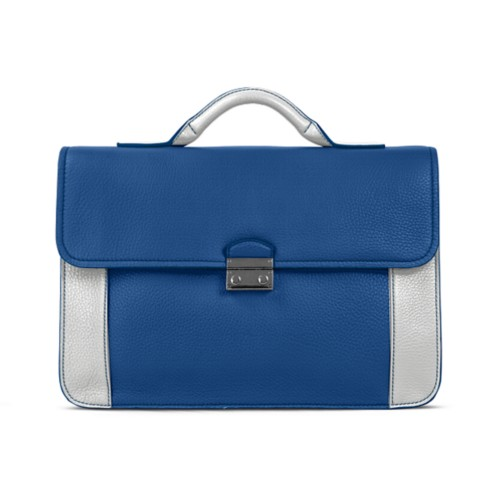 Lawyer briefcase - Royal Blue-White - Granulated Leather
