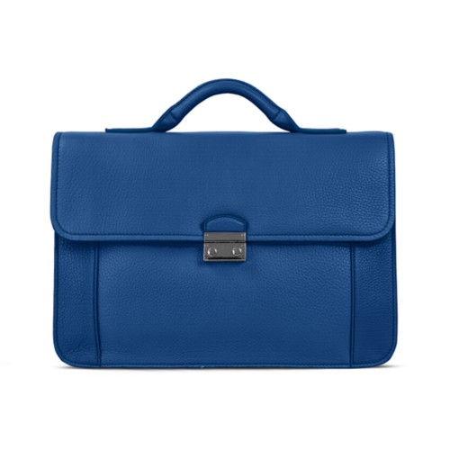 Lawyer briefcase - Royal Blue - Granulated Leather