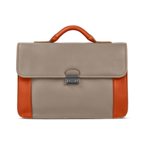 Lawyer briefcase - Mink-Orange - Granulated Leather