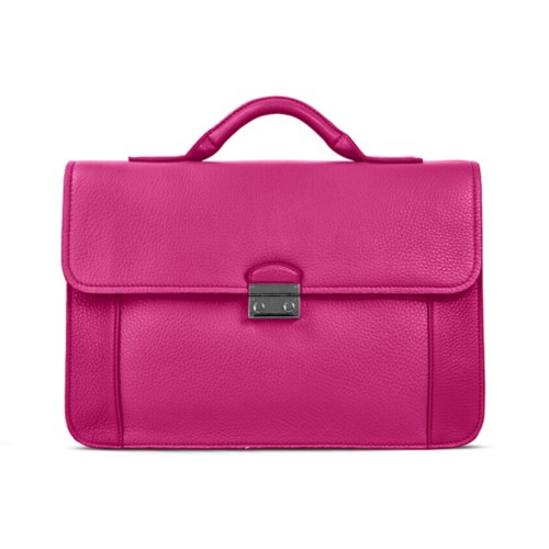 Lawyer briefcase - Fuchsia - Granulated Leather