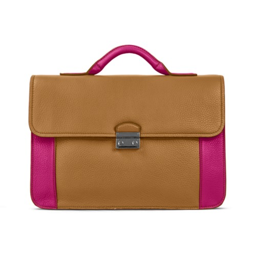 Lawyer briefcase - Flake-Fuchsia - Granulated Leather
