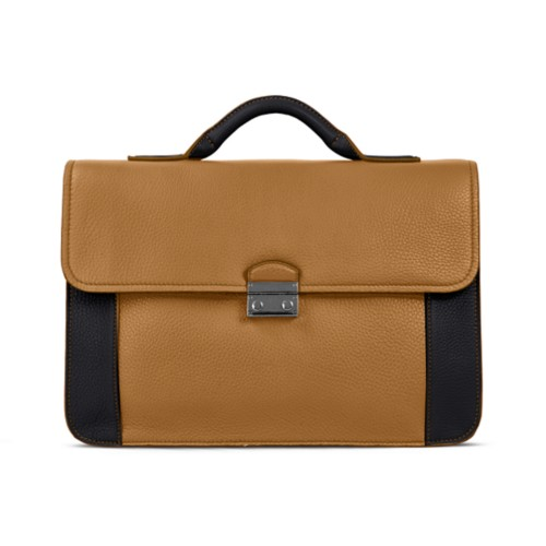Lawyer briefcase - Flake-Black - Granulated Leather