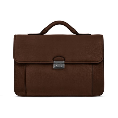 Lawyer briefcase - Dark Brown - Granulated Leather