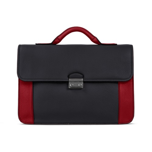 Lawyer briefcase - Black-Amaranto - Granulated Leather