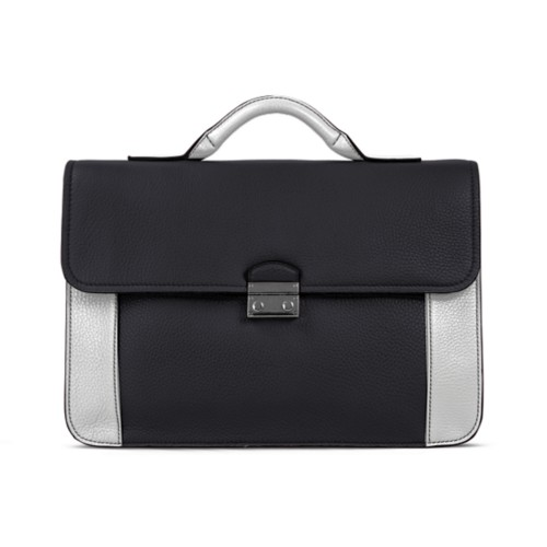 Lawyer briefcase - Black-White - Granulated Leather