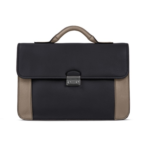 Lawyer briefcase - Black-Mink - Granulated Leather