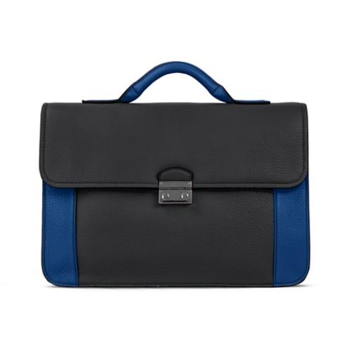 ブリーフケース - Black-Royal Blue - Granulated Leather