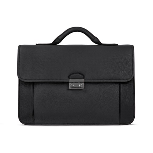 Lawyer briefcase - Black - Granulated Leather