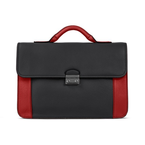 Lawyer briefcase - Black-Red - Granulated Leather