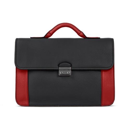 ブリーフケース - Black-Red - Granulated Leather