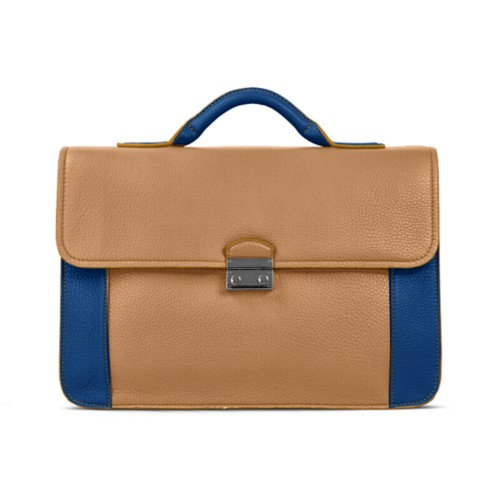Lawyer briefcase - Natural-Royal Blue - Granulated Leather