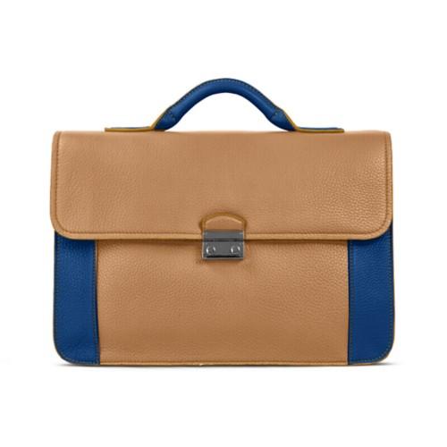 ブリーフケース - Natural-Royal Blue - Granulated Leather