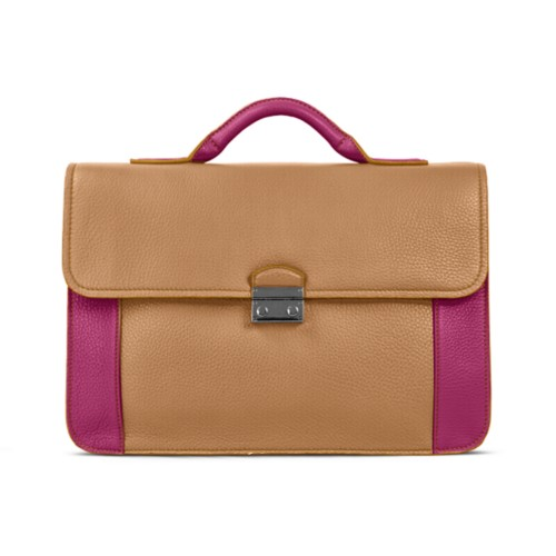 Lawyer briefcase - Natural-Fuchsia - Granulated Leather