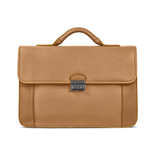 Lawyer briefcase - Natural - Granulated Leather