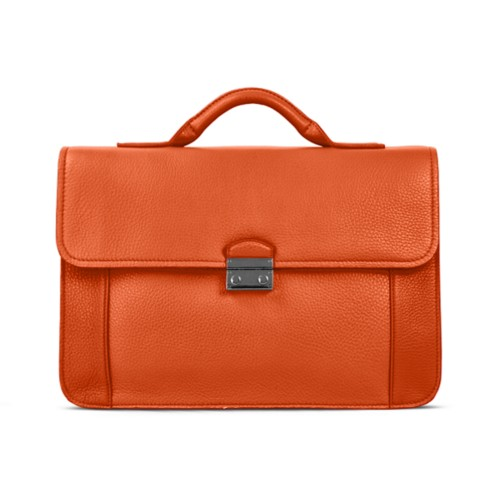 Lawyer briefcase - Orange - Granulated Leather