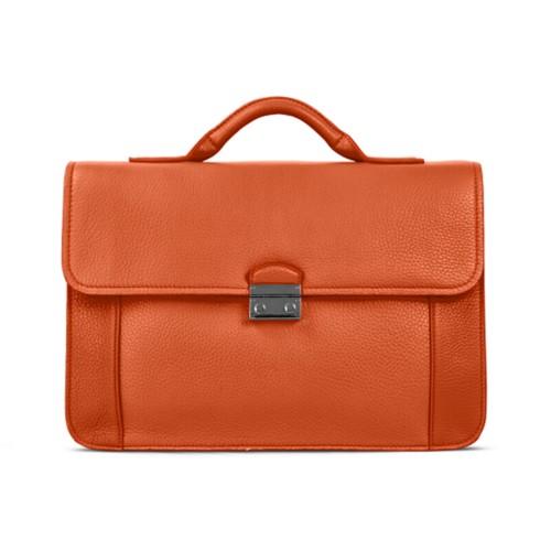 ブリーフケース - Orange - Granulated Leather