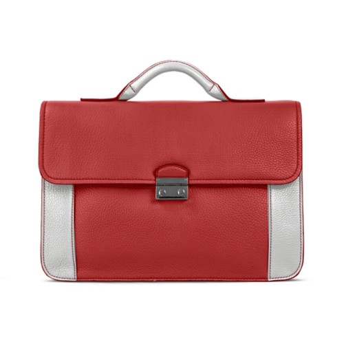 Lawyer briefcase - Red-White - Granulated Leather