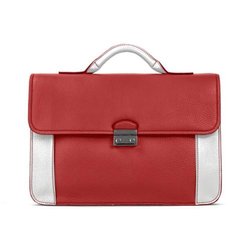 ブリーフケース - Red-White - Granulated Leather