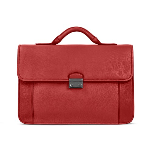 Lawyer briefcase - Red - Granulated Leather