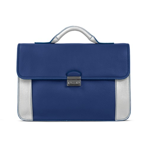 Lawyer briefcase - Submarine-White - Granulated Leather