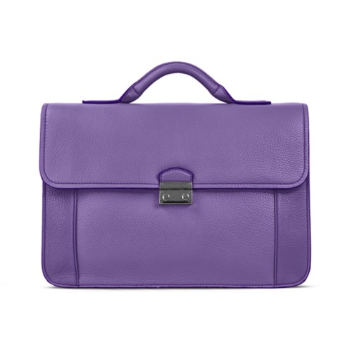 Lawyer briefcase - Lavender - Granulated Leather