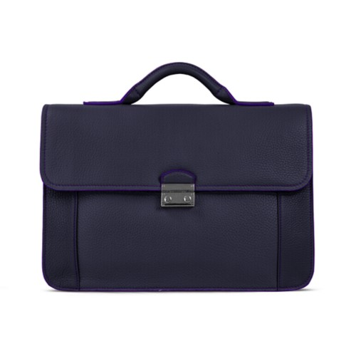 Lawyer briefcase - Purple - Granulated Leather