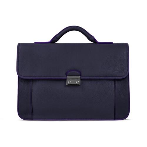 ブリーフケース - Purple - Granulated Leather