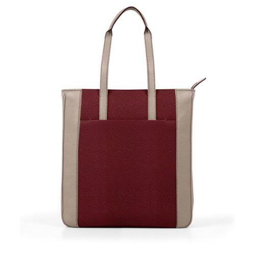 Unisex Tote Bag - Burgundy-Mink - Granulated Leather