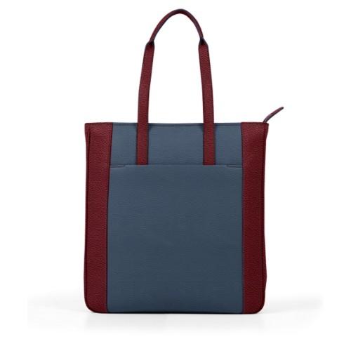 Unisex Tote Bag - Navy Blue-Burgundy - Granulated Leather