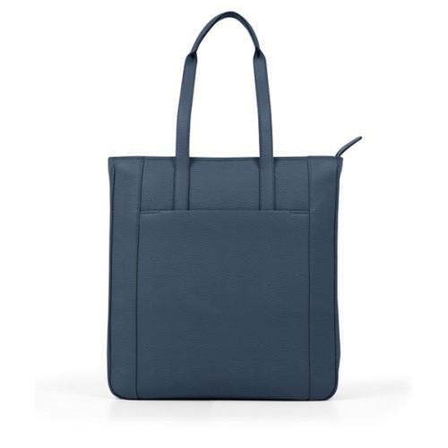 Unisex-Shoppertasche - Marineblau - Genarbtes Leder