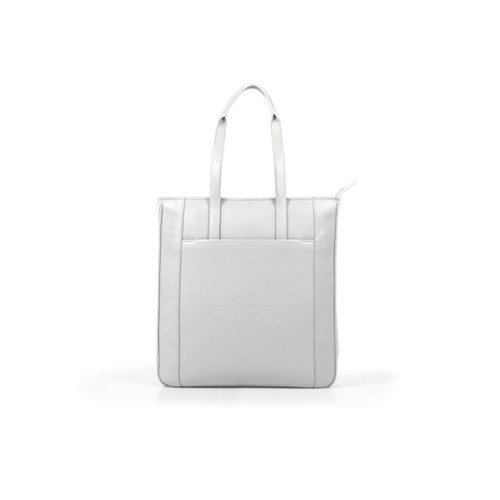 Unisex Tote Bag - White - Granulated Leather