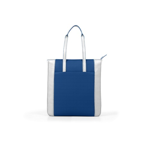 Unisex Tote Bag - Royal Blue-White - Granulated Leather