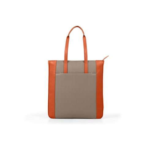 Unisex Tote Bag - Mink-Orange - Granulated Leather