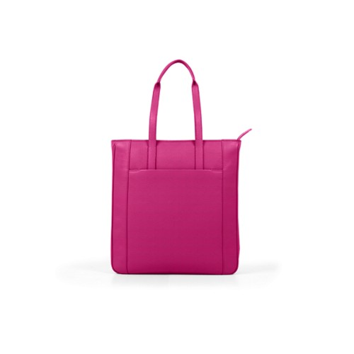 Unisex Tote Bag - Fuchsia - Granulated Leather