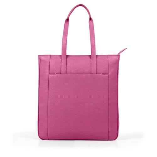 Unisex Tote Bag - Fuchsia  - Granulated Leather