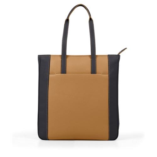 Unisex Tote Bag - Flake-Black - Granulated Leather